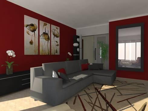 Remodelação de Apartamento em Almada: Salas de estar modernas por Projectos Arquitectura & 3D