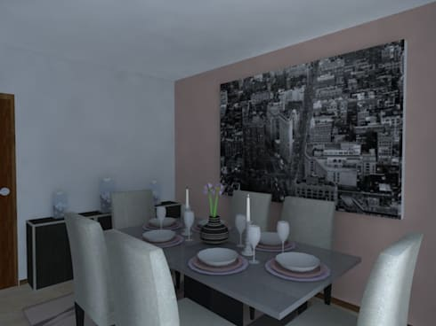 Remodelação de Apartamento em Almada: Salas de jantar modernas por Projectos Arquitectura & 3D
