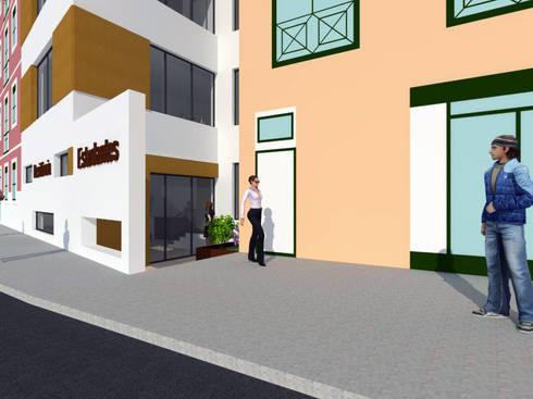 Residência para Estudantes: Casas minimalistas por Projectos Arquitectura & 3D