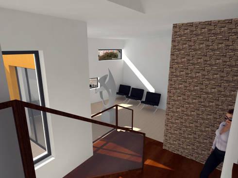 Residência para Estudantes: Corredores e halls de entrada  por Projectos Arquitectura & 3D