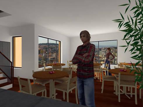 Residência para Estudantes: Cozinhas minimalistas por Projectos Arquitectura & 3D