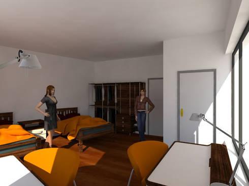Residência para Estudantes: Quartos minimalistas por Projectos Arquitectura & 3D