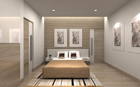 Villa Interiors & Exteriors , Bangalore: modern Bedroom by De Panache  - Interior Architects