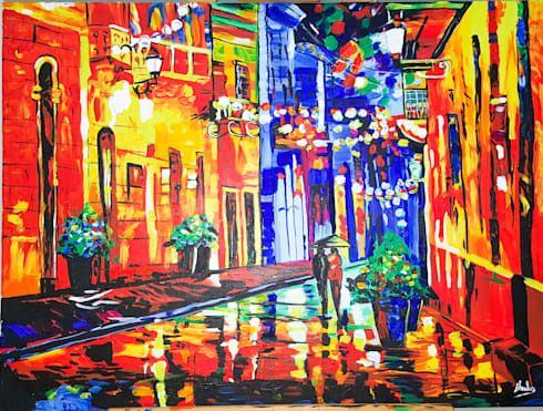 KNIFE PAINTING REPRODUCTION- WALK ON A RAINY EVENING:  Artwork by SHEEVIA  INTERIOR CONCEPTS
