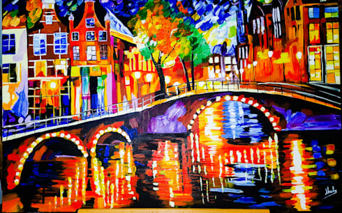 THE OLD BRIDGE-KNIFE PAINTING REPRODUCTION:  Artwork by SHEEVIA  INTERIOR CONCEPTS