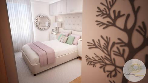 Projecto de Decoração - Quarto Pequeno: Quartos modernos por Andreia Louraço - Designer de Interiores (Contacto: atelier.andreialouraco@gmail.com)