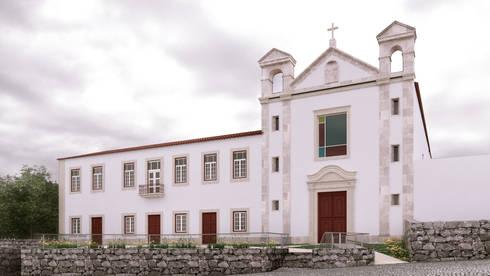 Recuperação do Antigo Colégio de Aldeia da ponte: Casas rústicas por David Bilo | Arquitecto
