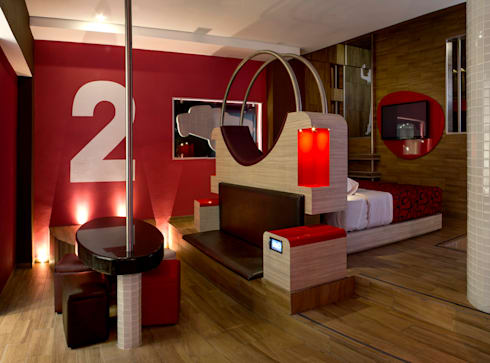 Hotel Centra 2: Recámaras de estilo moderno por DIN Interiorismo