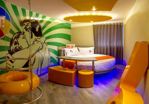 Hotel Oriente OH!: Recámaras de estilo moderno por DIN Interiorismo