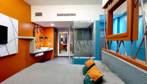 Hotel Tacubaya : Recámaras de estilo moderno por DIN Interiorismo