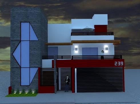FACHADA ATARDECER: Casas de estilo moderno por ROJAS Arquitectura Diferente