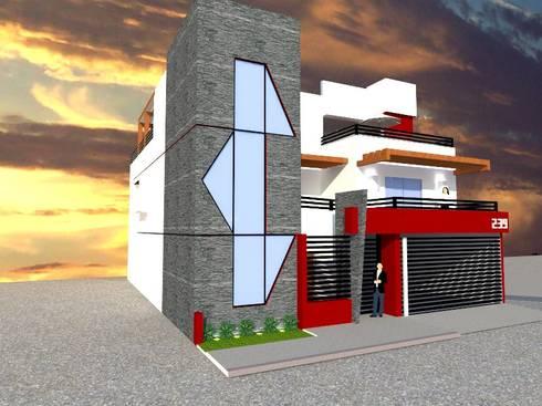 FACHADA LATERAL: Casas de estilo moderno por ROJAS Arquitectura Diferente