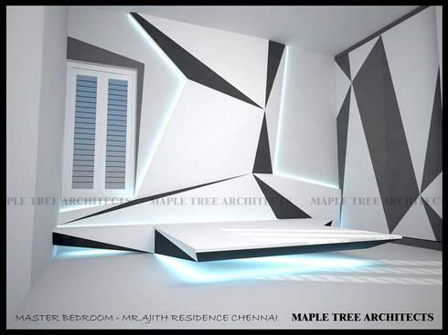 MASTER BEDROOM: modern Bedroom by MAPLE TREE