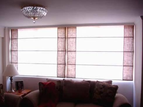 Cortinas romanas, australianas enrollables: Puertas y ventanas de estilo minimalista por INDIOS VERDES C.A