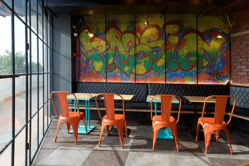 The grafitti wall:  Hotels by Studio Node