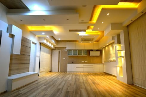 Residential interiors for Mr.Seelan at Chennai: minimalistic Kitchen by Offcentered Architects
