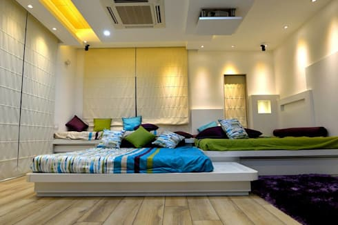Residential interiors for Mr.Seelan at Chennai: minimalistic Bedroom by Offcentered Architects