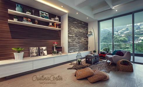 Sala Principal : Salones de estilo  por Cristina Cortés Diseño y Decoración