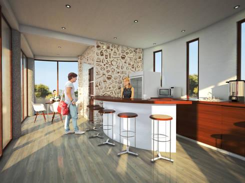 Render perspectiva Interior:  de estilo  por PRISMA ARQUITECTOS