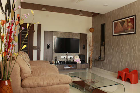 MR. ASHWINBHAI PATEL RESIDENCE: modern Media room by INCEPT DESIGN SERVICES