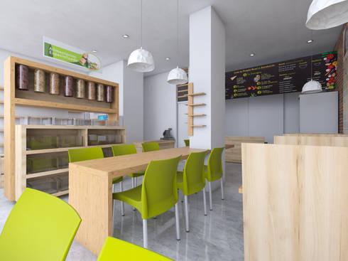 Diseño Arquitectónico y Remodelación de la tienda Biomarket Salitre: Oficinas y tiendas de estilo  por INblatt _Arquitectura