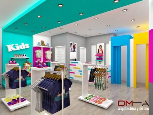 Diseño interior de tienda de ropa para niños: Tiendas y espacios comerciales de estilo  por om-a arquitectura y diseño