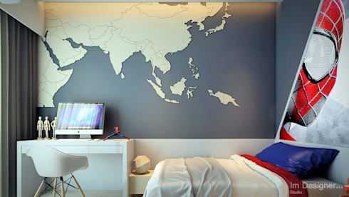 spiderman fan boy bedroom : modern Bedroom by Im Designer studio