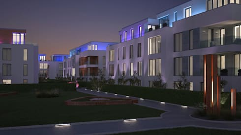 visualisierung eines wohnquartiers bei d sseldorf por beyond reality architekturvisualisierung. Black Bedroom Furniture Sets. Home Design Ideas
