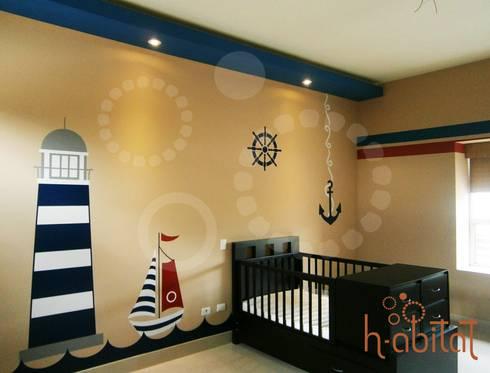 Vinil Decortavio en Cuarto de Bebé: Paredes y pisos de estilo moderno por H-abitat Diseño & Interiores