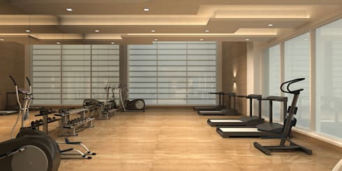 GYM ROOM:  Walls by De Panache  - Interior Architects
