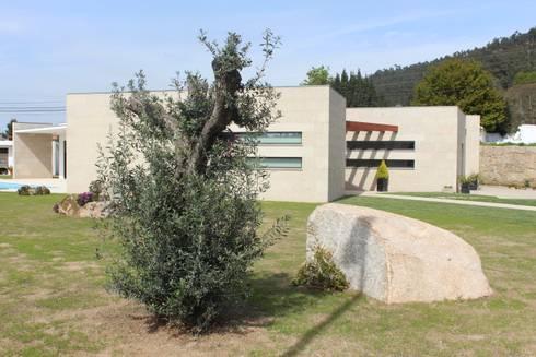 Relação do alçado sul com o jardim.: Casas modernas por Sérgio Bouça