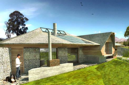 Vista de la fachada posterior y el  jardín interior: Casas de estilo rural por ARMarquitectura