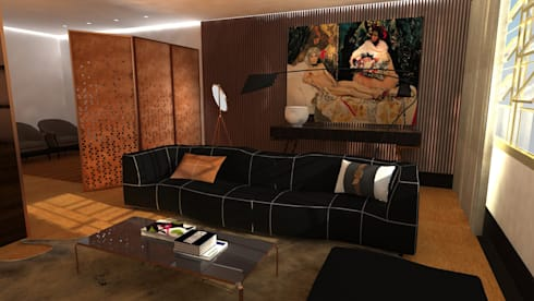 Projecto de Interiores | Remodelação Sala: Salas de estar ecléticas por  IDesign.art by Paula Gouveia