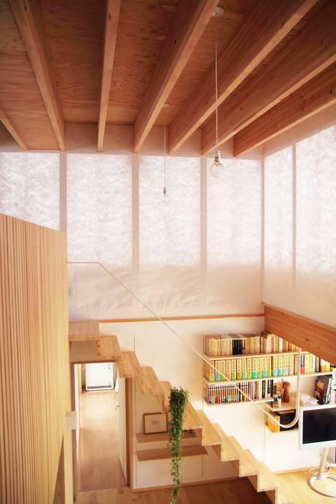 白鷹の家/SNOW LIGHT HOUSE: アーキテクチュアランドスケープ一級建築士事務所が手掛けた廊下 & 玄関です。