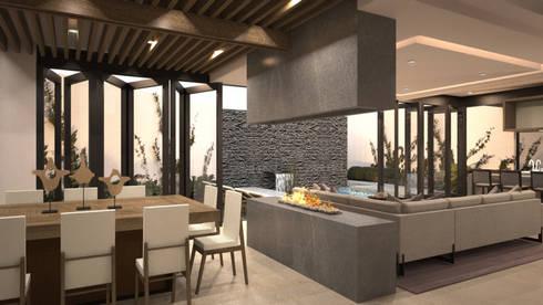 Comedor y chimenea: Comedores de estilo moderno por Nova Arquitectura