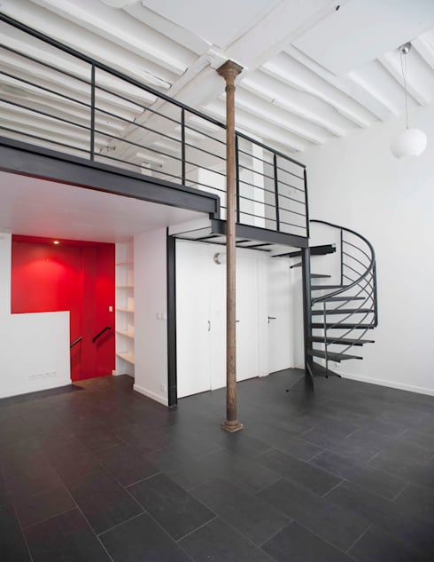 Esapce salon et Mezzanine: Salon de style de style Industriel par Olivier Olindo Architecte