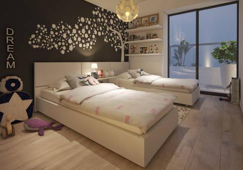 Dormitorio secundario - COSMOPOLITA:  de estilo  por FABRE STUDIO