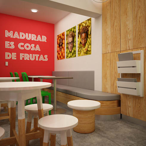 FRUTA LOCA - JUGUERIA CAFE: Locales gastronómicos de estilo  por Kuro Design Studio