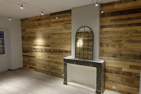 ameublement et d corations d 39 un bar restaurant en bois de palettes par l 39 atelier d 39 adri par l. Black Bedroom Furniture Sets. Home Design Ideas
