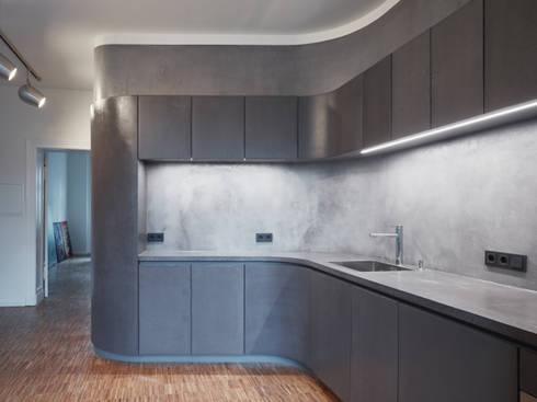beton cire k che von pa tischlerei gbr homify. Black Bedroom Furniture Sets. Home Design Ideas
