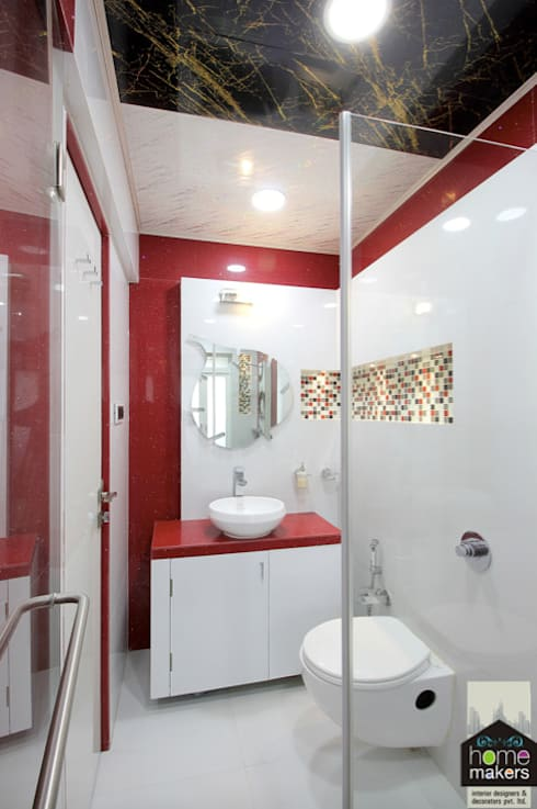 Red Washroom: modern Bathroom by home makers interior designers & decorators pvt. ltd.
