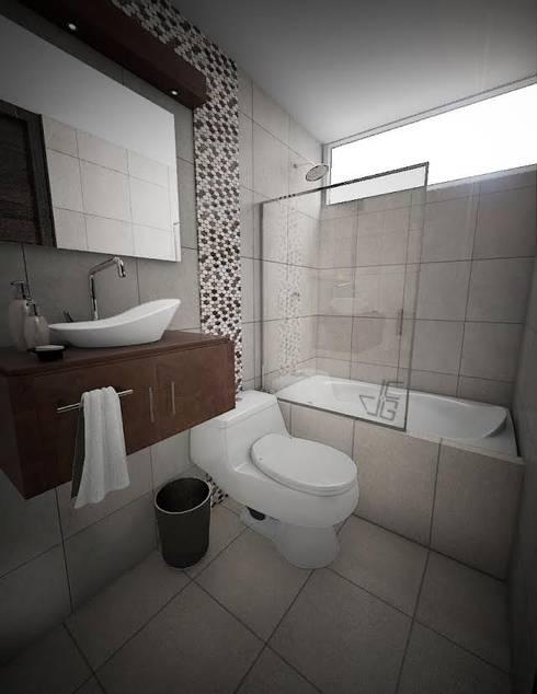 Proyecto en San Andrés, Trujillo: Baños de estilo  por Arquitectura y diseño 3d- J.C.G