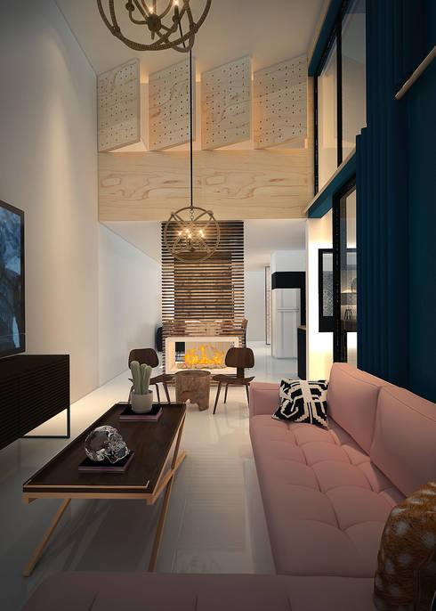 Casa Molina : Salas multimedia de estilo  por Rotoarquitectura