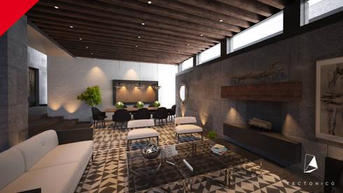 Casa Guadalajara: Salas de estilo ecléctico por Tectónico