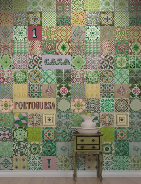 Azulejo Português Verde: Parede e piso  por OH Wallpaper