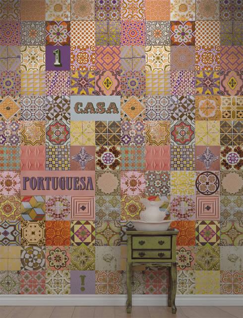 Azulejo Português Laranja: Parede e piso  por OH Wallpaper