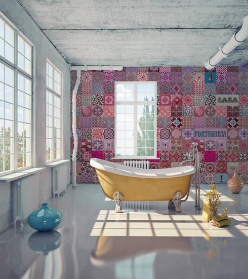 Azulejo Português Coordenado Rosa: Parede e piso  por OH Wallpaper