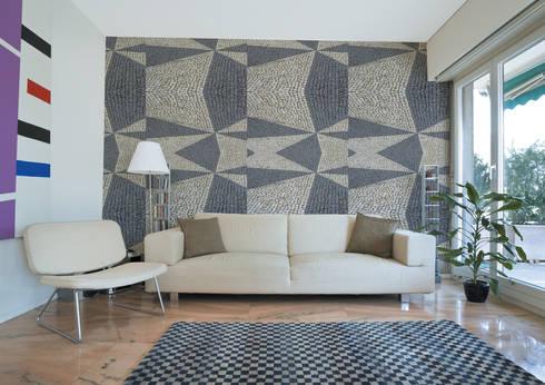 Calçada Portuguesa Fractal 2: Parede e piso  por OH Wallpaper