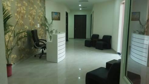 Reception Area:  Corridor, hallway & stairs  by Design Atellier