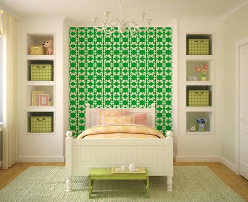 Galo Verde: Parede e piso  por OH Wallpaper